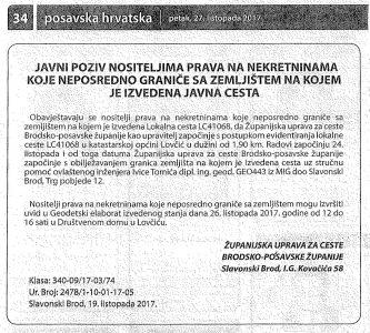 Javni poziv nositeljima prava na nekretninama koje neposredno graniče sa zemljištem na kojem je izvedena javna cesta